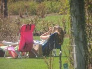 on lawn chair together in park,images pictures