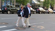dressed alike couple crossing street,hartford-pictures