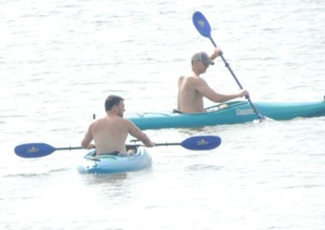 buddies kayaking down the river,photo