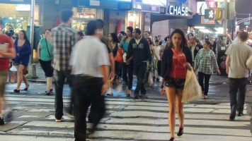 crowded nyc streets nyc travel gift for fun