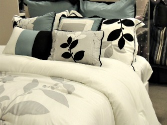Elegant white black bedding, housewarming gifts