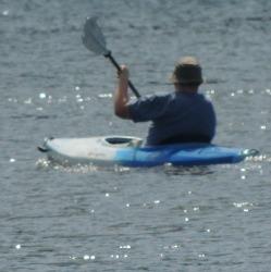 man kayaking in mystic, images
