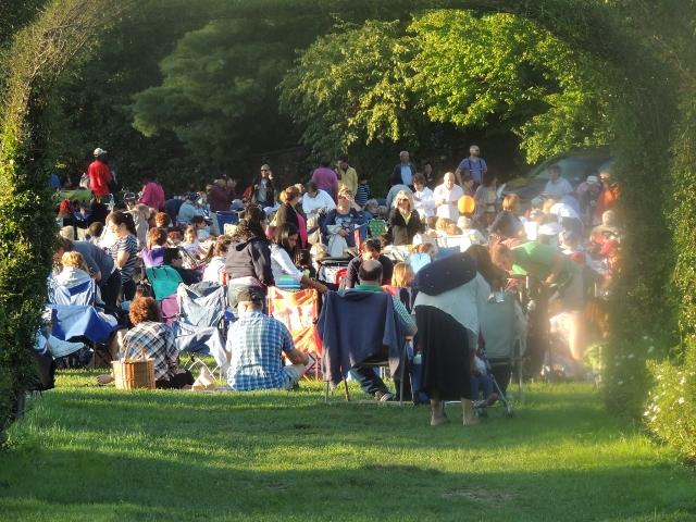 people enjoying concert in park,images