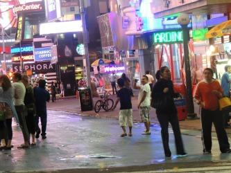 people standing on street nyc, manhatton travel