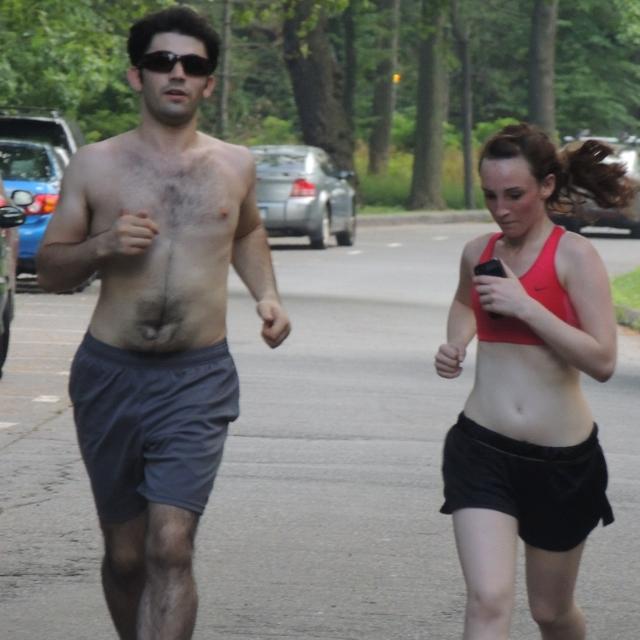 scantly clad couple jogging, amazing photos