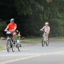 older man on double bicycle with child,retirement gift for him